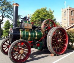 King George V traction engine by the Church